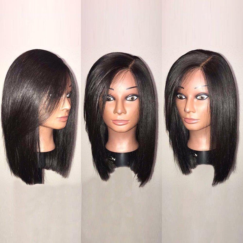 Medium Side Parting Glossy Straight Bob Synthetic WigHAIR<br><br>Color: BLACK; Type: Full Wigs; Cap Construction: Capless; Style: Straight; Bang Type: Side; Length: Medium; Length Size(CM): 38; Weight: 0.1800kg; Package Contents: 1 x Wig;