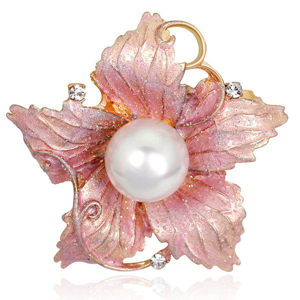 Rhinestone Artificial Pearl Enamel Flower Shimmer BroochJEWELRY<br><br>Color: PINK; Brooch Type: Brooch; Gender: For Women; Style: Trendy; Shape/Pattern: Floral; Length: 4.5 x 4.3cm; Weight: 0.0390kg; Package Contents: 1 x Brooch;