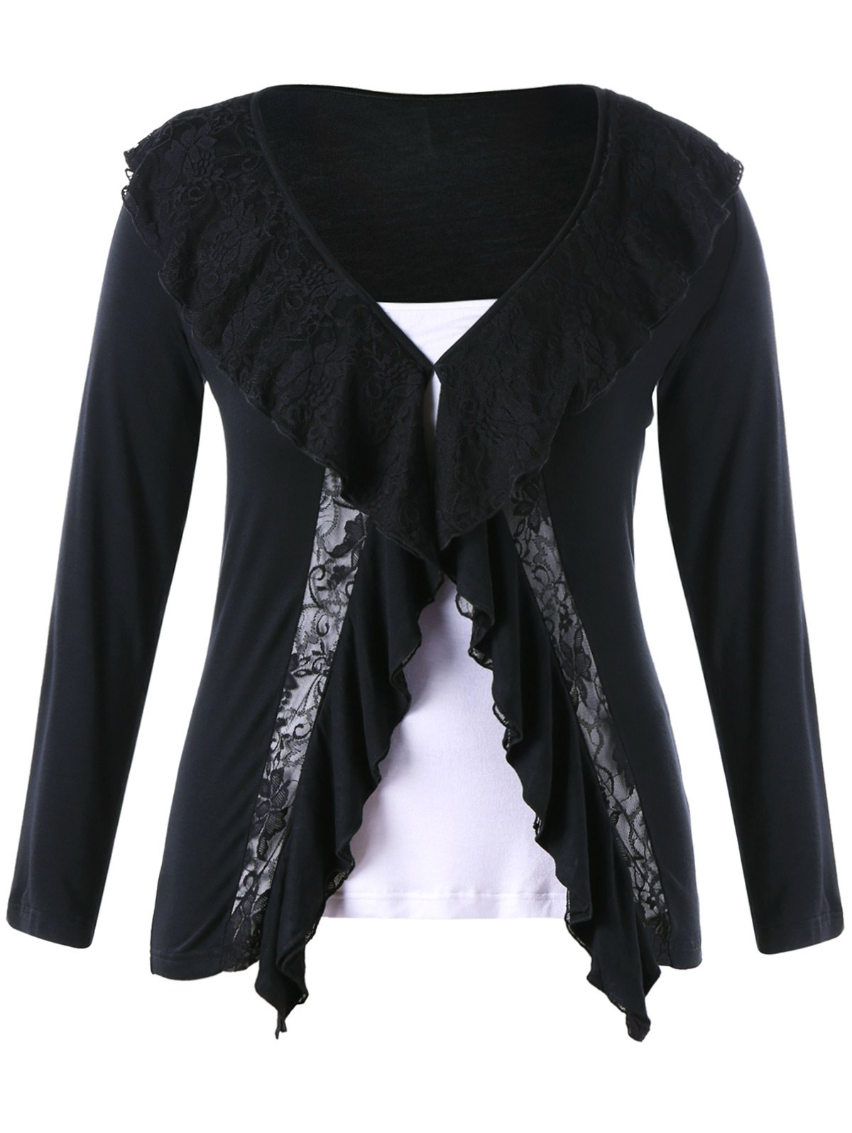 Plus Size Lace Panel Two Tone TopWOMEN<br><br>Size: 5XL; Color: BLACK; Material: Polyester; Shirt Length: Long; Sleeve Length: Full; Collar: Turn-down Collar; Style: Lolita; Season: Summer; Pattern Type: Solid; Weight: 0.3400kg; Package Contents: 1 x Top;