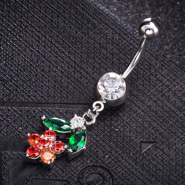 Flower Design Faux Diamond Belly Button JewelryJEWELRY<br><br>Color: BRIGHT RED; Body Jewelry Type: Navel/Belly Button Rings; Metal Type: Stainless Steel; Style: Trendy; Shape/Pattern: Floral; Package Content: 1 x Navel Button; Weight: 0.0100kg;