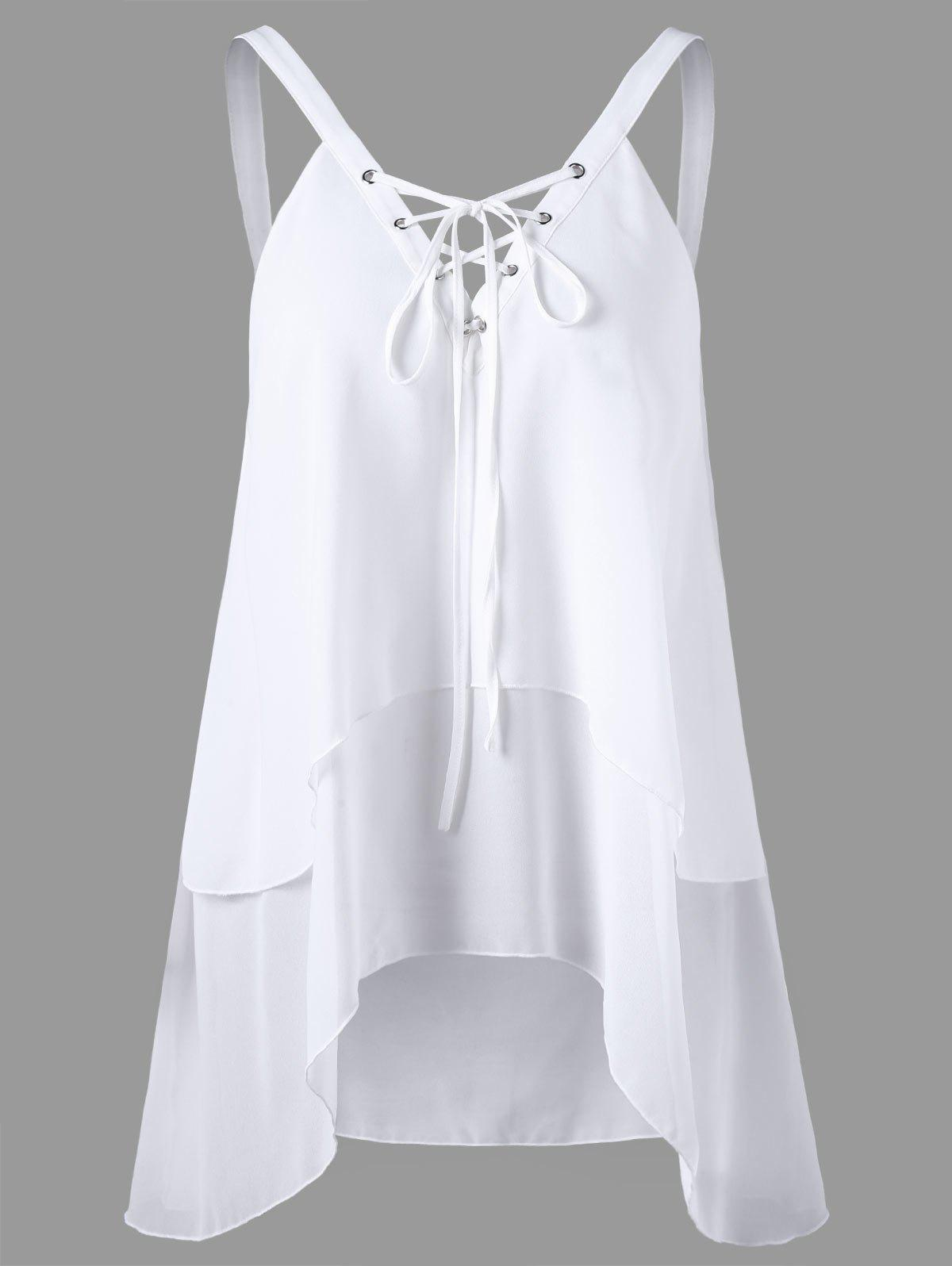 Criss Cross Front Layered Sleeveless Chiffon BlouseWOMEN<br><br>Size: M; Color: WHITE; Occasion: Casual; Style: Casual; Material: Polyester; Fabric Type: Chiffon; Shirt Length: Regular; Sleeve Length: Sleeveless; Collar: V-Neck; Pattern Type: Solid; Embellishment: Criss-Cross; Season: Summer; Weight: 0.2000kg; Package Contents: 1 x Blouse;