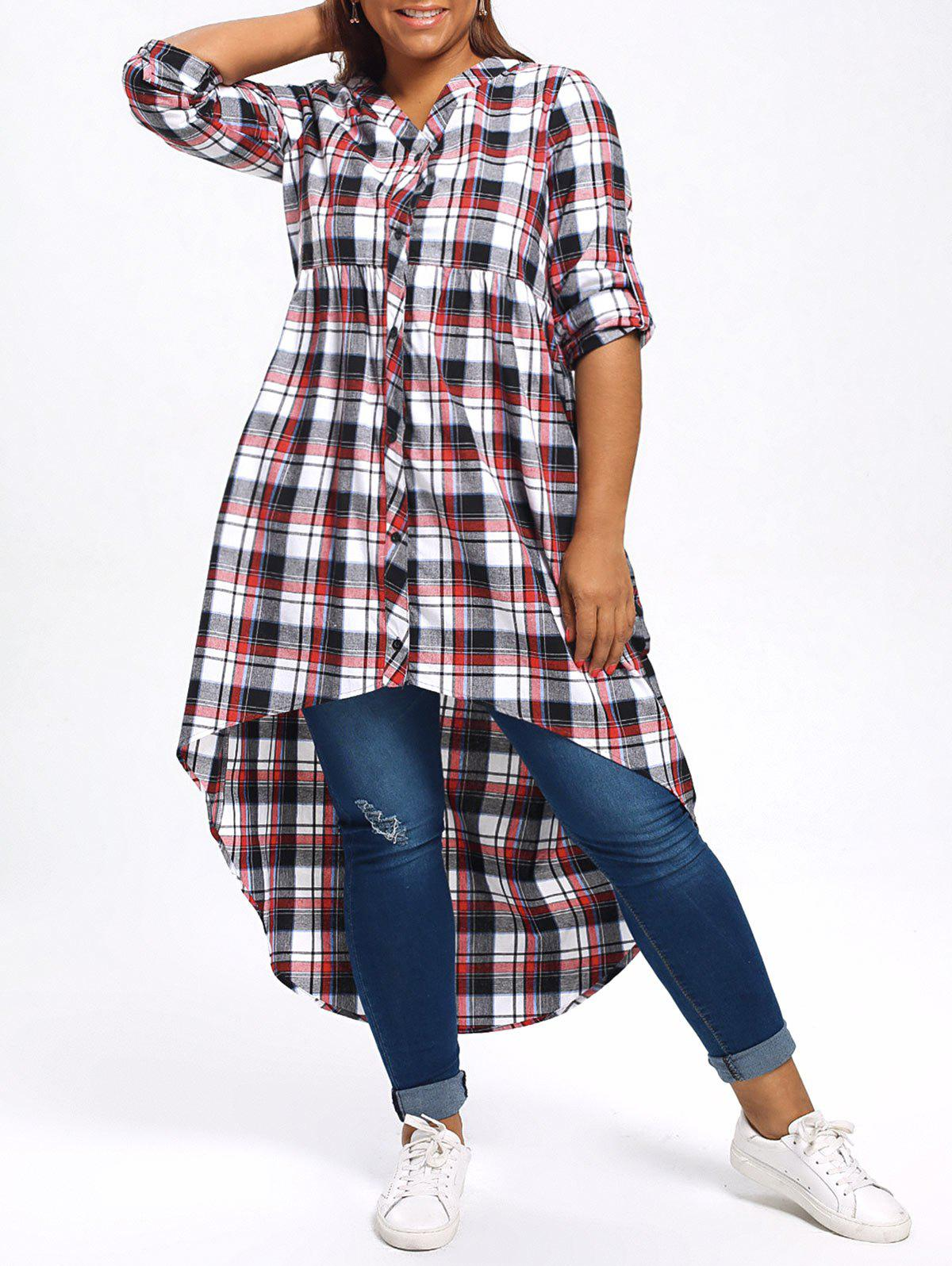 High Low Plus Size Plaid ShirtWOMEN<br><br>Size: 5XL; Color: COLORMIX; Material: Polyester; Shirt Length: Long; Sleeve Length: Full; Collar: V-Neck; Style: Casual; Season: Fall,Spring; Pattern Type: Plaid; Weight: 0.4300kg; Package Contents: 1 x Shirt;