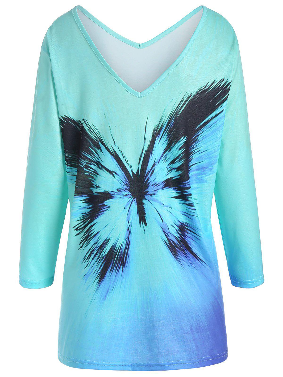 Latest Plus Size Ombre Butterfly Print Tee