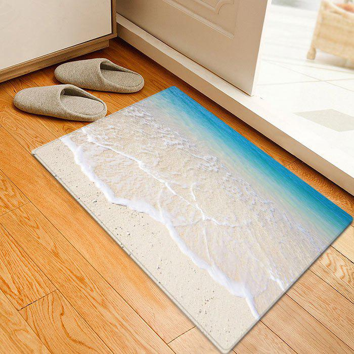 Beach Tidewater Pattern Anti-skid Water Absorption Area RugHOME<br><br>Size: W20 INCH * L31.5 INCH; Color: LAKE BLUE; Products Type: Bath rugs; Materials: Flannel; Style: Beach Style; Shape: Rectangle; Package Contents: 1 x Rug;