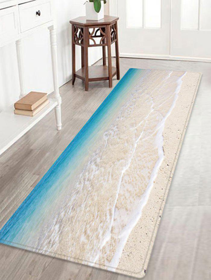 Beach Tidewater Pattern Anti-skid Water Absorption Area RugHOME<br><br>Size: W16 INCH * L47 INCH; Color: LAKE BLUE; Products Type: Bath rugs; Materials: Flannel; Style: Beach Style; Shape: Rectangle; Package Contents: 1 x Rug;