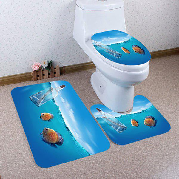 Ocean Fish Pattern 3 Pcs Flannel Bath Mat Toilet MatHOME<br><br>Color: LAKE BLUE; Products Type: Bath Mats; Materials: Flannel; Style: Trendy; Size: Pedestal Rug: 40*50CM, Lid Toilet Cover: 38*43CM, Bath Mat: 50*80CM; Package Contents: 1 x Pedestal Rug 1 x Lid Toilet Cover 1 x Bath Mat;