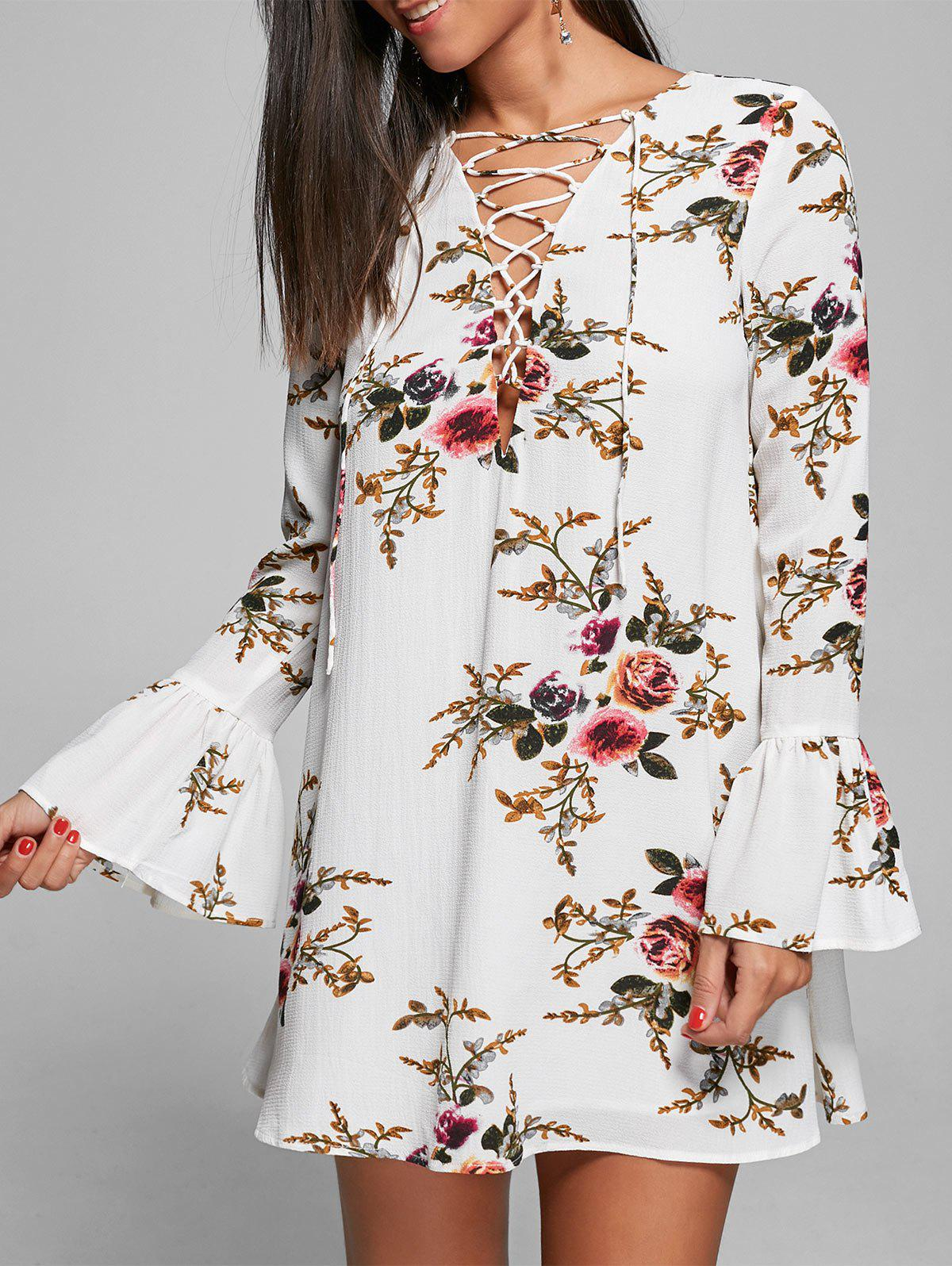 Shop Bell Sleeve Floral Lace Up Mini Dress