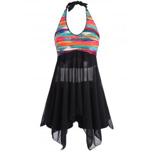 Printed Padded Blouson Skirted Tankini Swimwear -