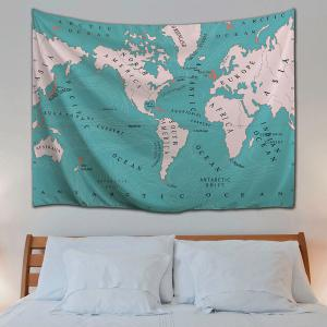 Lake blue w59 inch l79 inch wall art polyester fabric world map wall art polyester fabric world map tapestry gumiabroncs Image collections