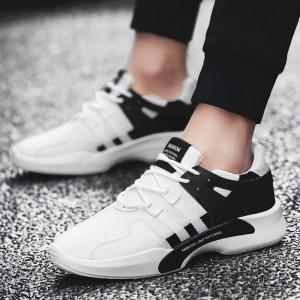 Breathable Mesh Suede Insert Athletic Shoes - BLACK WHITE 43