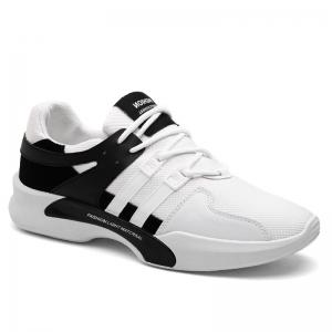 Breathable Mesh Suede Insert Athletic Shoes - Black White - 41