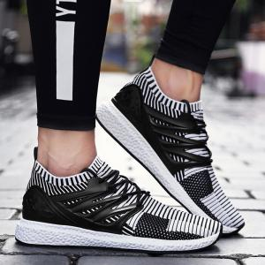 Lace Up Striped Pattern Breathable Casual Shoes - White And Black - 40