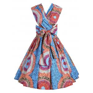 Sleeveless Open Back African Print Flare Dress