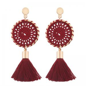 Floral Crochet Tassel Drop Earrings - Red