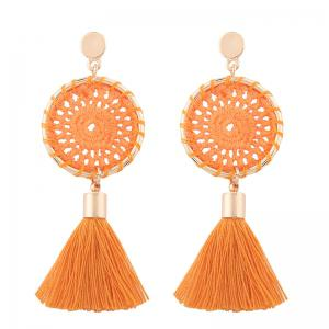 Floral Crochet Tassel Drop Earrings - Orange - M