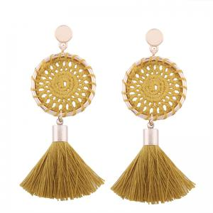 Floral Crochet Tassel Drop Earrings - Ginger
