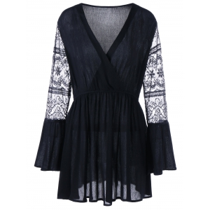 Plus Size Lace Long Sleeve Dress - Black - 3xl