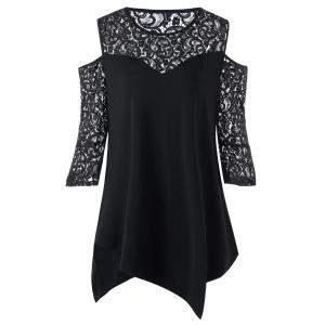 Plus Size Lace Panel Cold Shoulder Blouse