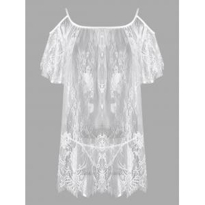 Lingerie Cold Shoulder Lace Sheer Dress - White - One Size