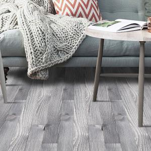 A Roll of Wood Grain Decorative Vinyl Floor Sticker - SMOKY GRAY