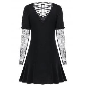 Lace Up Long Sleeve Sheer Flare Dress - BLACK M