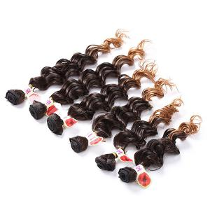 6PCS Deep Wave Ombre Colormix Synthetic Hair Wefts - Graduel Brun