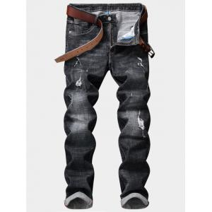 Destroy Wash Zipper Fly Straight Leg Ripped Jeans