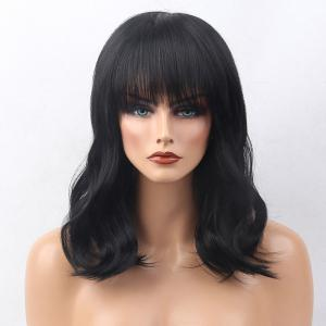 Medium Neat Bang Slightly Curled Human Hair Wig - Jet Black #01