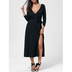Plunging Neck Maxi High Slit Evening Dress