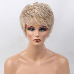 Short Side Bang Colormix Tail Upwards Layered Slightly Curly Human Hair Wig