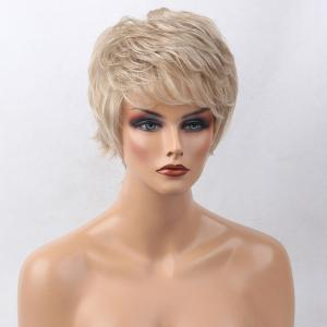 Short Side Bang Colormix Tail Upwards Layered Slightly Curly Human Hair Wig -