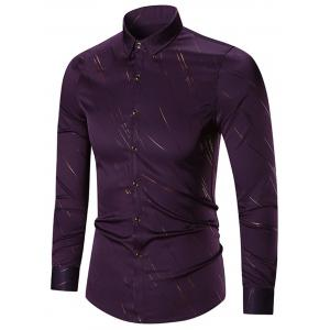Button Up Print Long Sleeve Casual Shirt - Purple - M