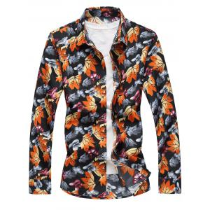 3D Maple Leaves and Butterflies Print Plus Size Shirt - Colormix - 6xl