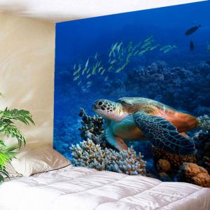 Turtle Ocean Fish Wall Art Tapestry - Blue - W59 Inch * L51 Inch