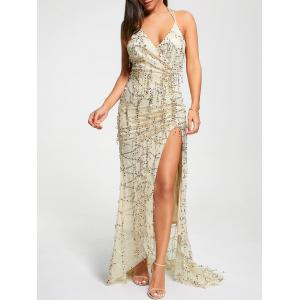 Surplice Halter High Slit Sequin Maxi Dress