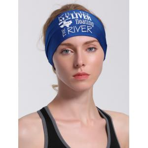 Running Hip Hop Letters Pattern Headband - Blue