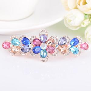 Faux Crystal Rhinestone Inlaid Flower Shape Barrette