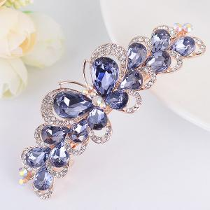 Butterfly Design Faux Gem Inlay Rhinestone Barrette - Light Purple - W16 Inch * L47 Inch