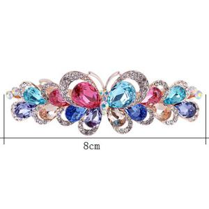 Butterfly Design Faux Gem Inlay Rhinestone Barrette - COLORFUL