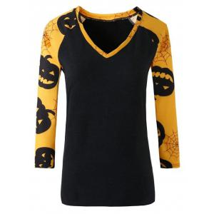 Casual V Neck Print Raglan Sleeve T Shirt