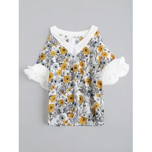 V Neck Chiffon Floral Cold Shoulder Blouse - White - Xl