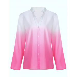 Long Sleeve Button Up Ombre Blouse