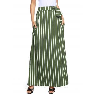 Striped Maxi Skirt - Green - Xl