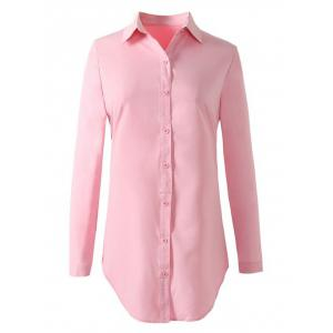 Formal Work Button Up Long Shirt - Pink - S