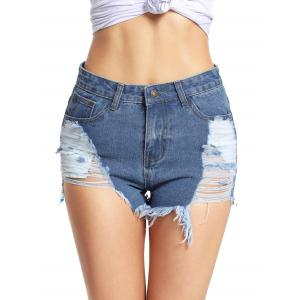 Cuff Off Distressed Denim Shorts
