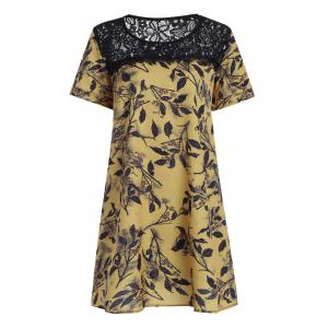 Plus Size Lace Openwork Mini Floral Chiffon Dress