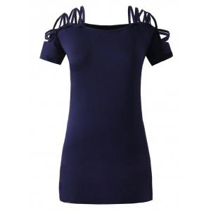 Short Sleeve Shoulder Lace Up Fitted Dress