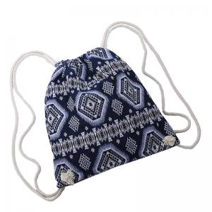 Drawstring Ethnic Print Backpack - BLUE