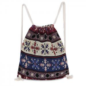 Drawstring Ethnic Print Backpack
