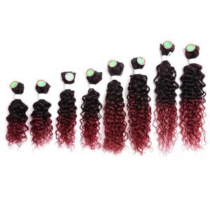 8PCS Caribbean Jerry Curly Human Hair Mixed Synthetic Fiber Hair Wefts - WINE RED